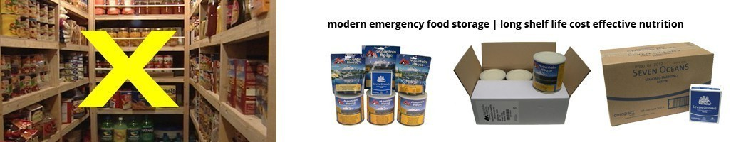 modern emergency food storage - food kits, long shelf life cost effective nutrition