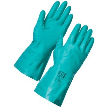 Nitrile Rubber Chemical Resistant Gloves Green