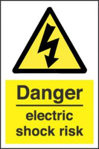 Danger Electric Shock risk Sign - self-adhesive vinyl 20cm x 30 cm