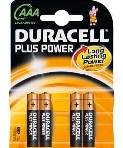Duracell Plus AAA Batteries - pack of four batteries