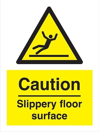 Caution Slippery Floor Sign Semi Rigid Plastic 20cm x 30cm