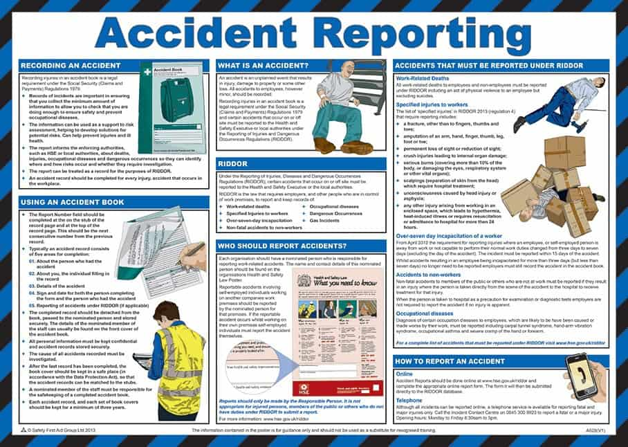 Accident Reporting Poster laminated 59cm x 42cm