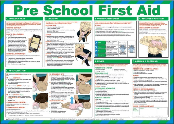 Pre School First Aid Poster - laminated 59cm X 42cm
