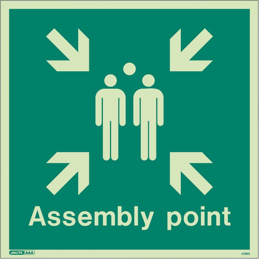 Assembly Point Jalite Sign - photoluminescent, rigid PVC 30 X 30cm