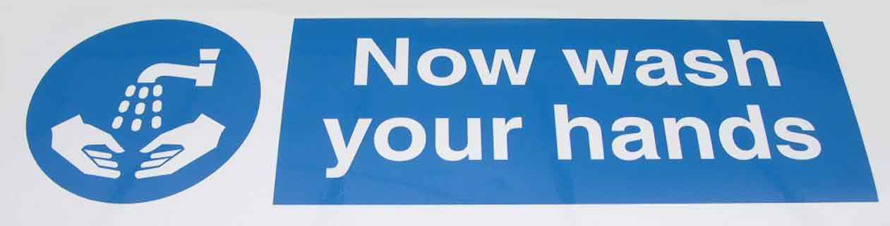 Now Wash Your Hands Sign - self-adhesive vinyl 30cm x 10cm