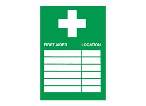 First Aider and Location Sign - adhesive 20 X 30 cm