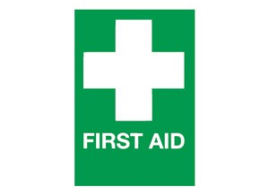 First Aid White Cross Sign - self-adhesive vinyl 20cm x 30 cm