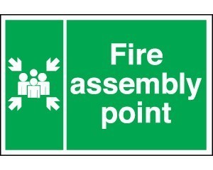 Fire Assembly Point Sign - self-adhesive vinyl size 40cm x 60cm