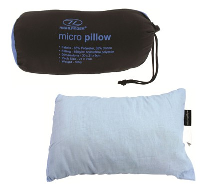 Hollowfibre Travel Pillow Supplied with Stuff Sac
