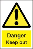 Danger Keep Out Sign - self-adhesive vinyl 20cm x 30cm