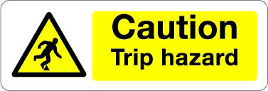 Trip Hazard Sign semi-rigid plastic 30cm x 10cm