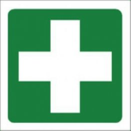 Self Adhesive Sticker White On Green First Aid Cross 5x5cm