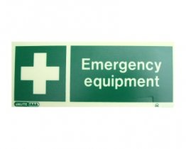 Emergency Equipment Sign adhesive glow-in-the-dark 20cm x 8cm