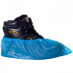 CPE Disposable Overshoes Single Blue