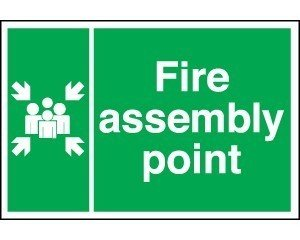 Fire Assembly Point Sign - rigid plastic 1mm size 40cm x 60cm