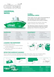 Clinell Universal Surface Sanitising Wipes - NHS Approved