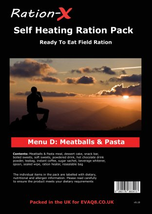 Ration-X Self Heating Ration Pack Menu D
